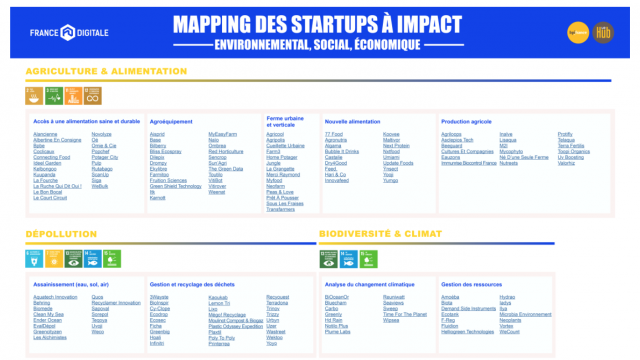 Mapping start-ups à impact par BPI France LeHub et France Digitale