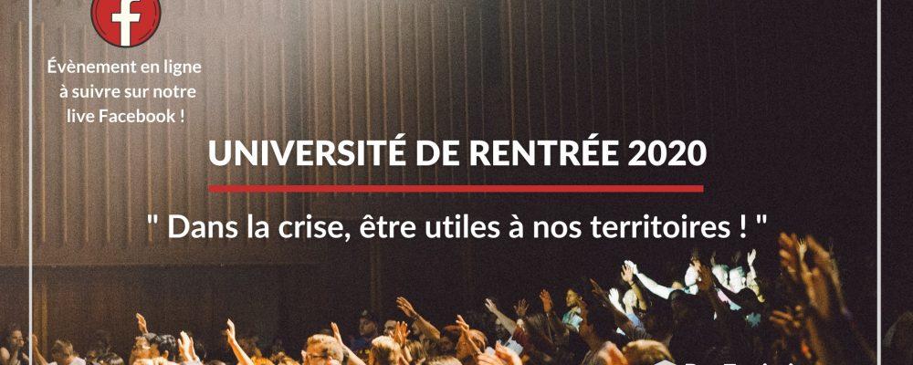 Université de Rentrée 2020