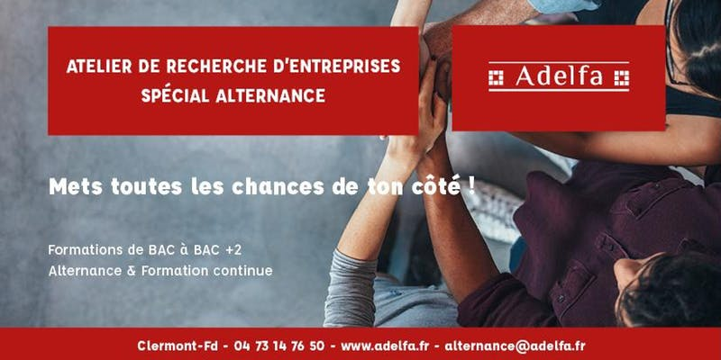 Atelier de Recherche d'Entreprises - Spécial Alternance @ Adelfa | Clermont-Ferrand | Auvergne-Rhône-Alpes | France